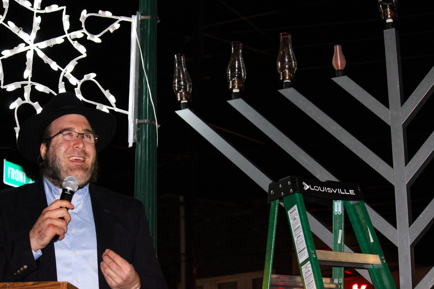 Rabbi Avrohom Blesofsky of Chabad of Union County welcomes Scotch Plains residents to the annual menorah lighting