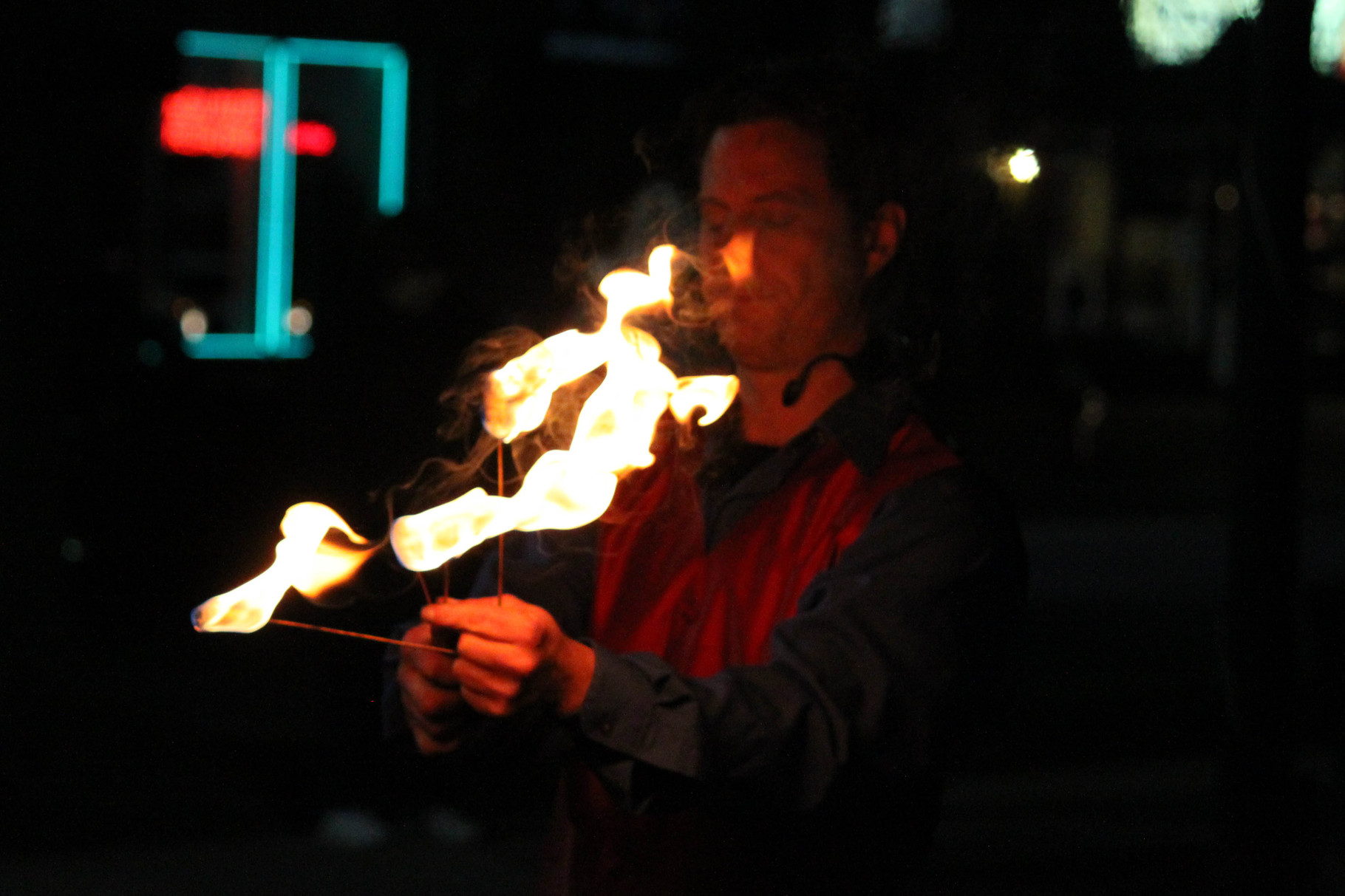 Incredible Larry wows the crowd with fire-eating tricks as part of the Festival of Lights