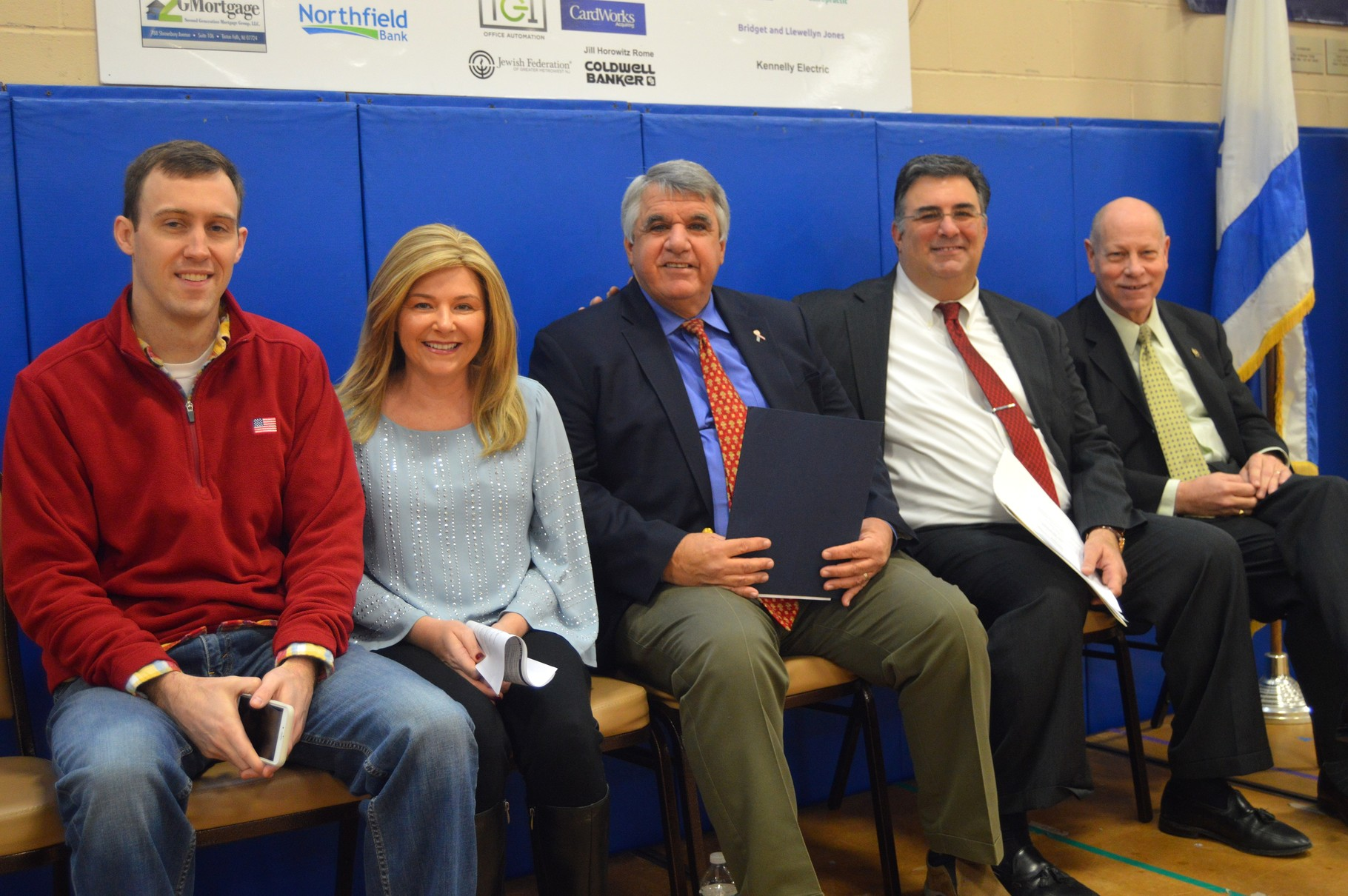 Councilman Llewellyn Jones, Deputy Mayor Rose Checchio, Mayor Kevin Glover, Township Manager Al Mirabella, and Assemblyman Jim Kennedy at the JCC of Central Jersey