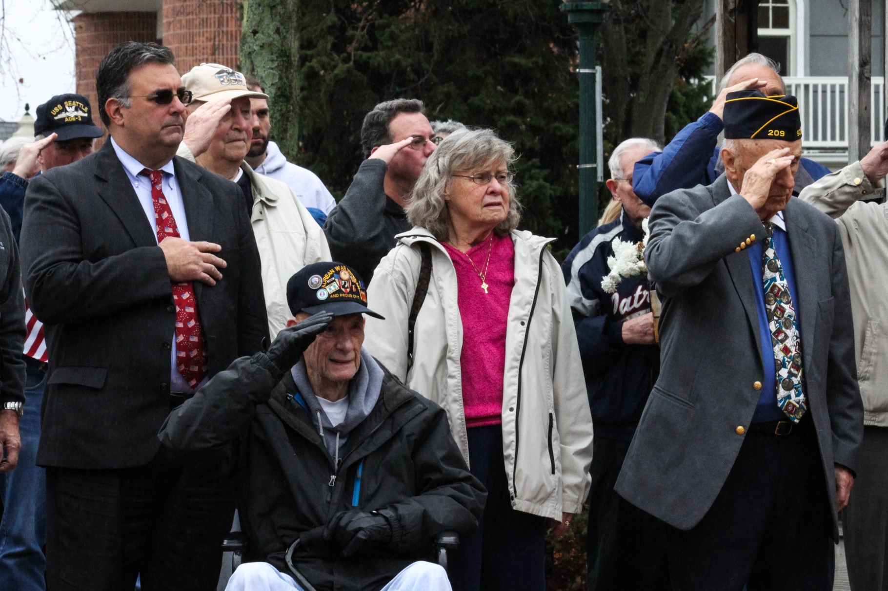 Al Mirabella joins Veterans in saluting the flag