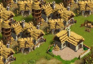 Hier sieht man einen der Bauernhöfe in einen Retro-Bauernhof verwandelt.