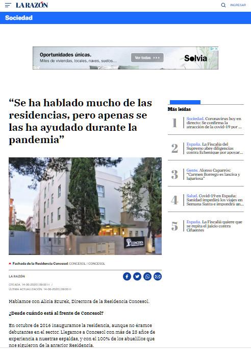 Alicia Szurek Residencia Mayores Concesol