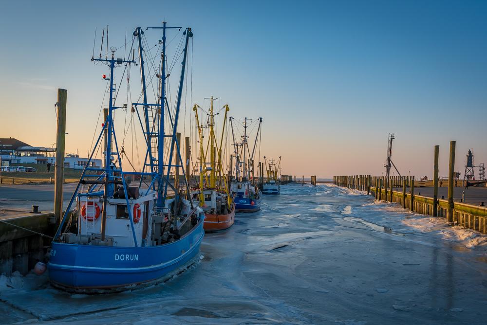 Der Hafen von Dorum im Winter