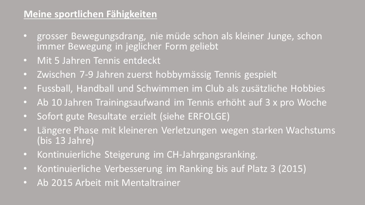 Lebenslauf - Severin Steiner - mein Ziel, Grand Slam!