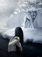 Miedo-imagen de mujer con lobo