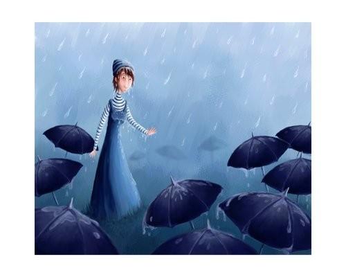 Ilustración de niña bajo la lluvia con paraguas a sus piés abiertos