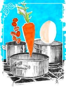El cuento de la zanahoria, el huevo y el café