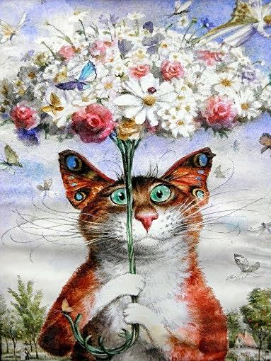 Ilustración de gato con mariposas