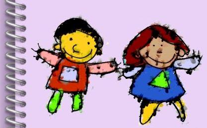 Dibujo de 2 niños de la web argentina Bibliopeque