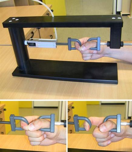 Máquina para testar la fuerza del índice con el pulgar cerrando en anillo