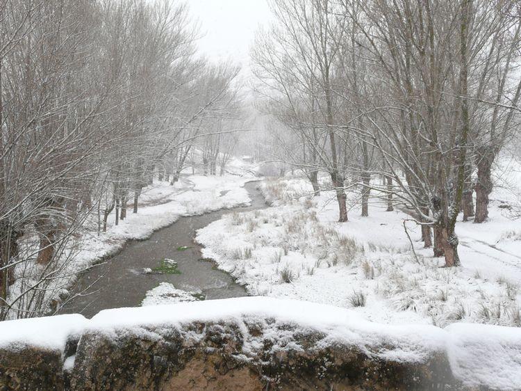 Paisaje nevado de u pueblo de montaña, con árboles y un puente