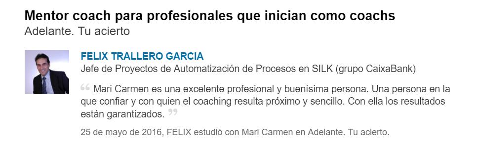 Testimonio de coaching insertado por el cliente en LinkedIn