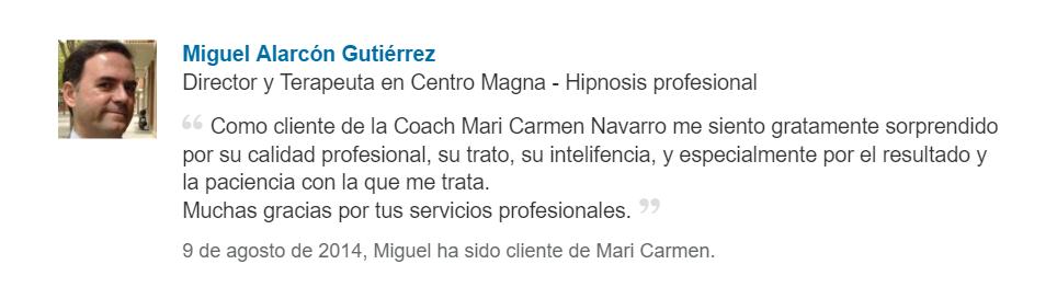 Miguel Alarcón. Testimonio de coachee en proceso personal de coaching