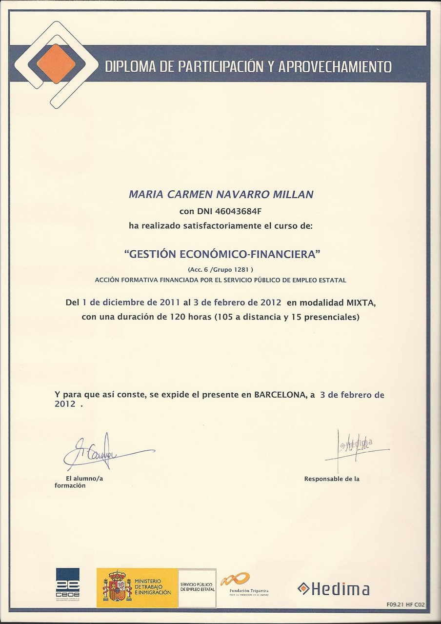 Diploma Hedima de gestión económico financiera