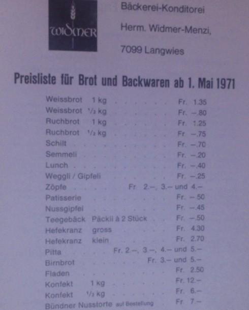 Preisliste 1971