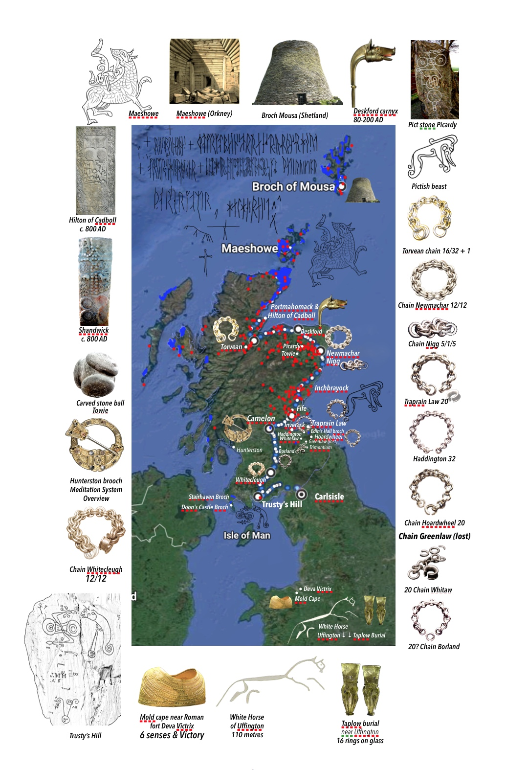 Distribution map: Brochs (blue), Pict stones (red) and massive silver chains