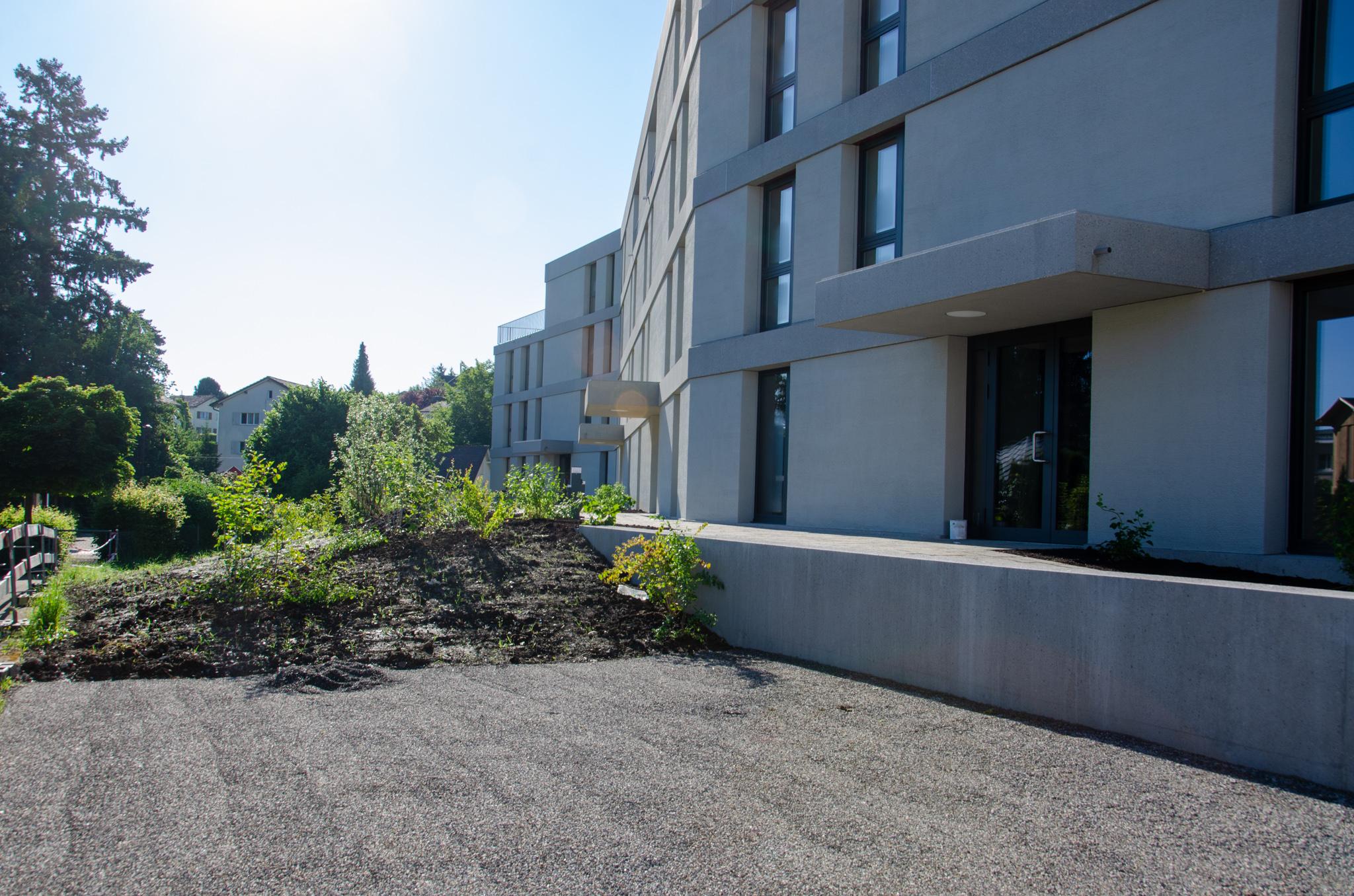 Auch die Nordseite ist mit dem Fuss- und Radweg zu den vier Eingängen hin ersichtlich, die Gestaltung  mit verschiedenen Pflanzen verschönert und der geforderten Platz für die Feuerwehr erstellt.