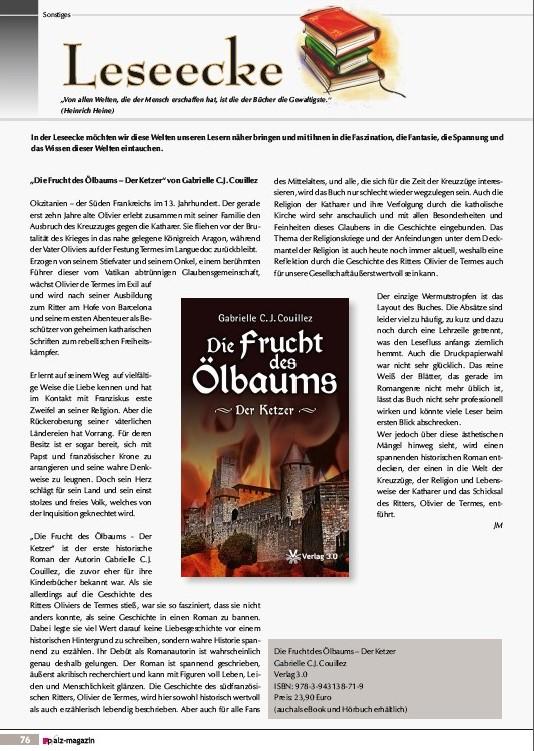 Pfalz-Magazin Nr. 21 vom Oktober 2013, Artikel von Jennifer Malchow