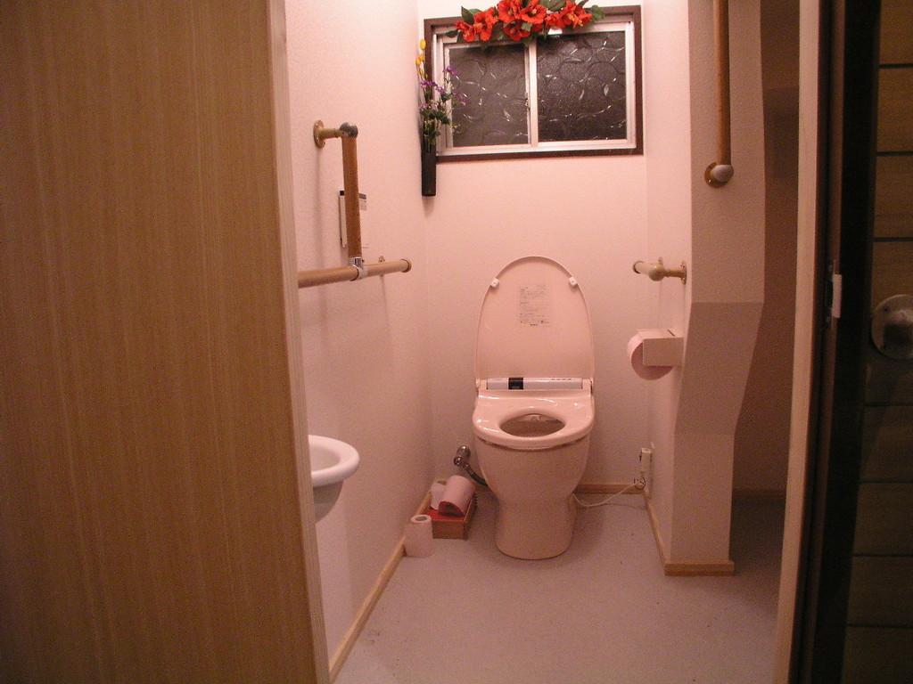 手摺手前は車椅子からの身体引き起こしに使用、〔階段下収納を改修してトイレを広く〕