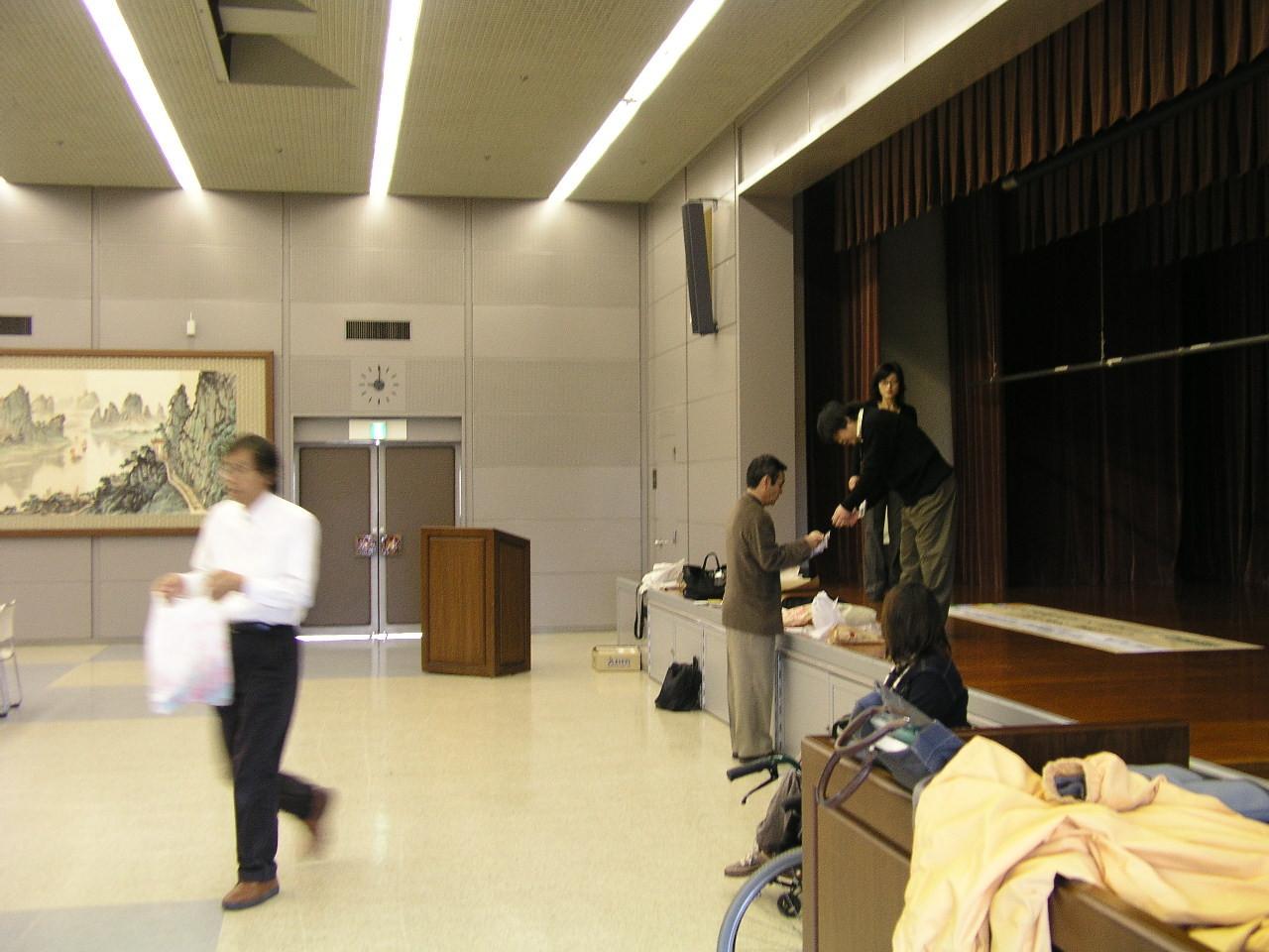 ヒューマンネットワーク熊本・バリアフリーデザイン研究会早朝から準備中です