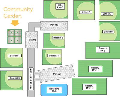 WT Community Garden location in Palmer Park, Bartley Rd.