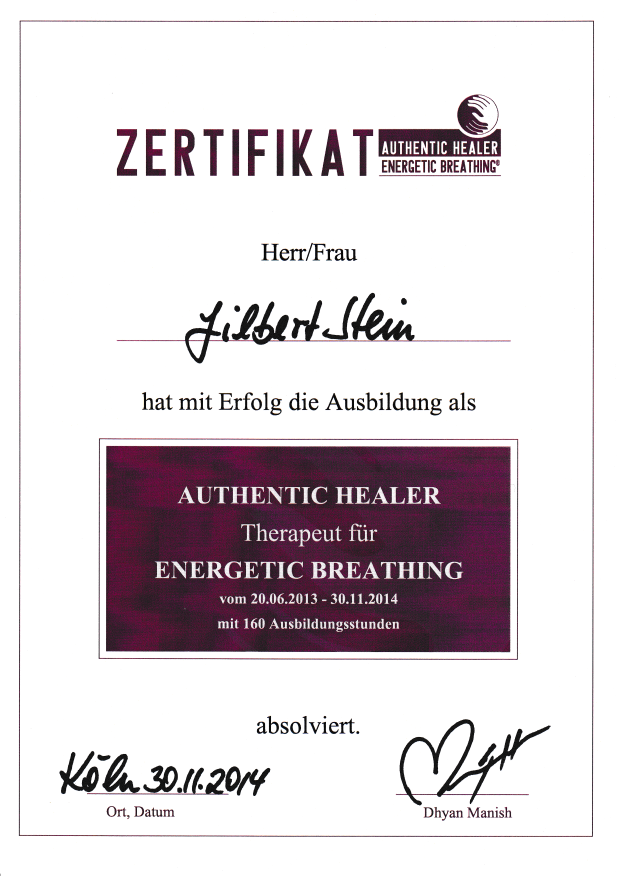 Zertifikat Therapeut für Energetic Breathing