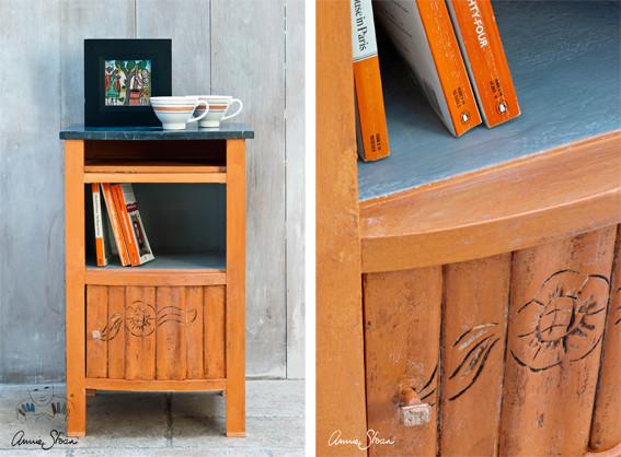 Man sieht auf dem Foto ein Möbelstück, das mit der Kreidefarbe Annie Sloan Chalkpaint im Farbton Barcelona Orange gestrichen wurde