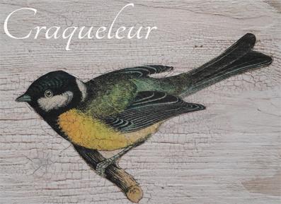 Auf dem Foto sieht man einen Vogel, der mit der Decoupage Technik von Annie Sloan  auf ein mit Kreidefarbe grundiertes Holbrett aufgebracht wurde. Anschliessend wurde die Craqueleur Technik angewandt.