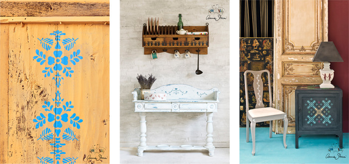 Auf dem Foto sieht man drei Möbel, die jeweils mit unterschiedlichen Schablonen verziert wurden. Die Möbel sind allesamt mit Kreidefarbe gestrichen und die Schablonen mit Chalk Paint ausgeführt.