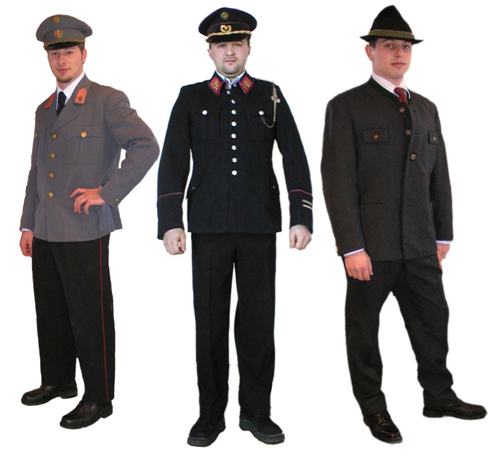 Gendarmerieuniform, Feuerwehruniform und Steireranzug