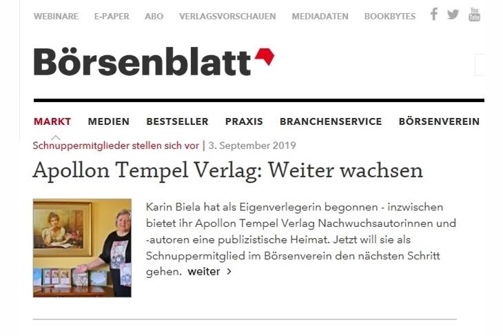 Ab Sept. 2019 Schnuppermitglied im Börsenverein des Deutschen Buchhandels