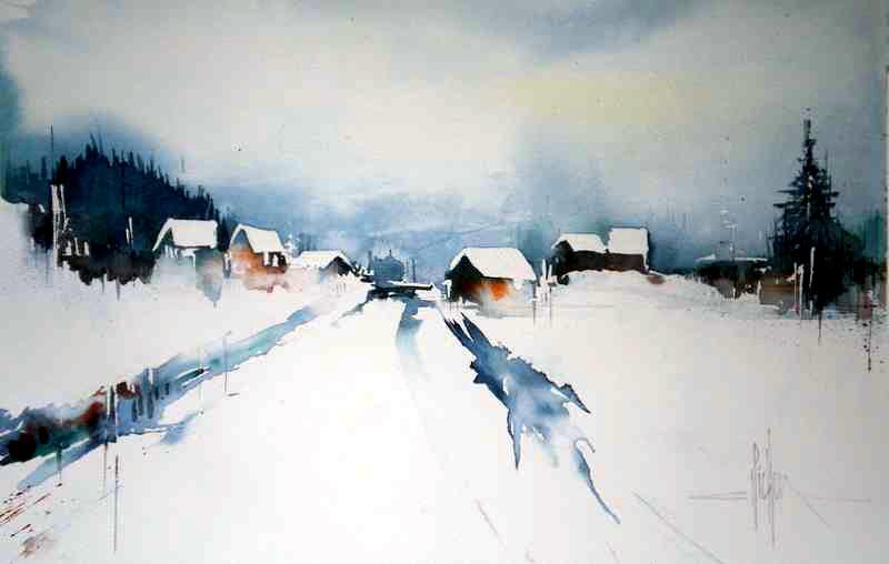 197 Etude de neige - 2011 - Aquarelle 30.5 x 45.5