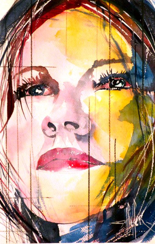 281 Portrait de femmen 04 - 2012 - Aquarelle 35.5 x 51