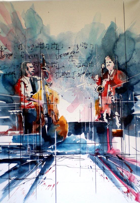 252 Jazz Duo pour saxophone et contrebasse - 2012 - Aquarelle sur papier tendu sur châssis 50 x 70