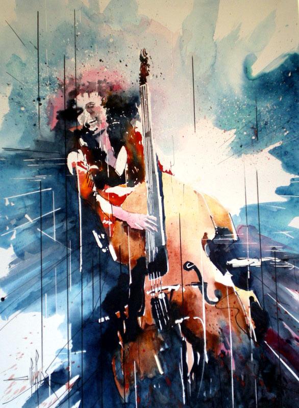 250 Jazz La soliste et sa contrebasse - 2012 - Aquarelle sur papier tendu sur châssis 50 x 70