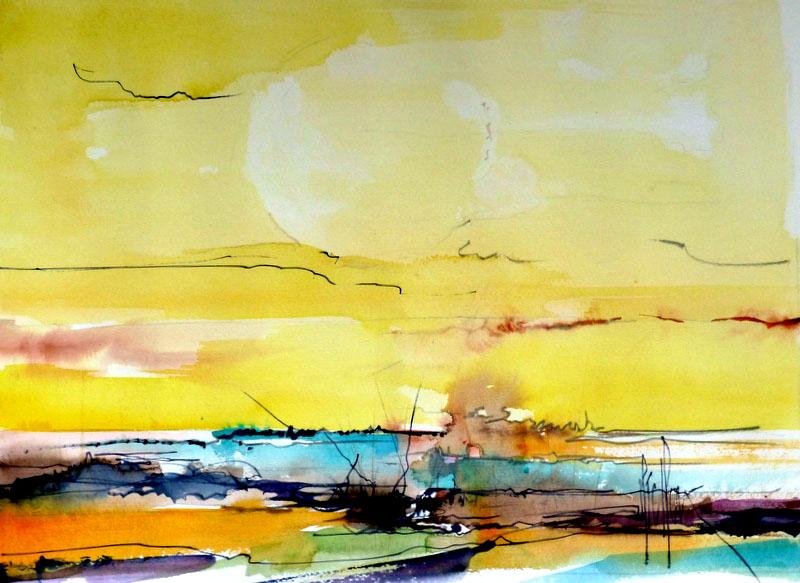 """291 Paysage """"Destaelinien"""" - 2013 - Aquarelle 42 x 60"""