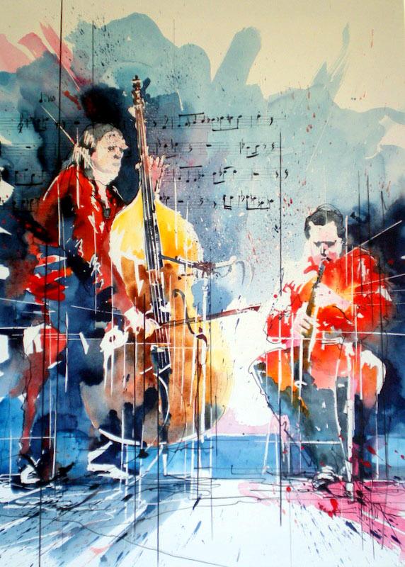 251 Jazz Duo pour flûte et contrebasse - 2012 - Aquarelle sur papier tendu sur châssis 50 x 70