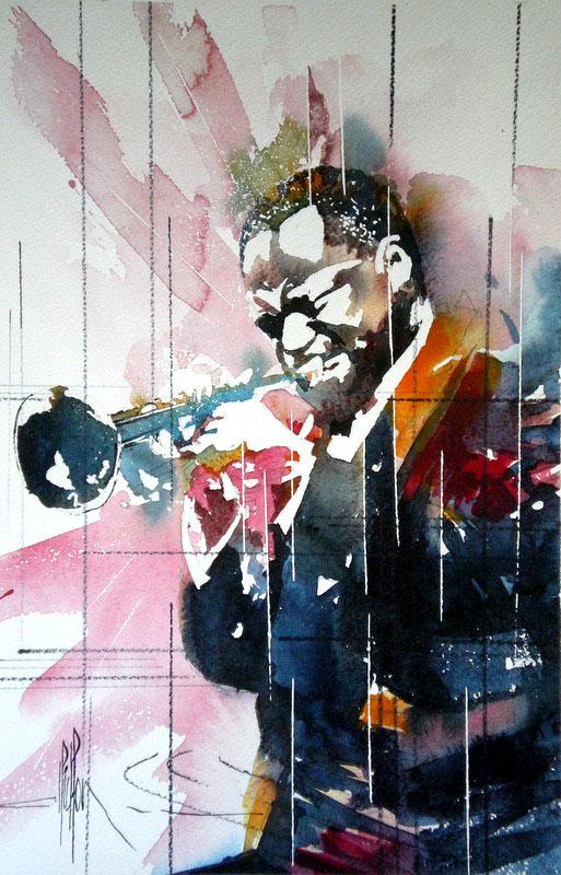 256 - Jazz Solo de trompette - 2012 - Aquarelle 30.5 x 45.5