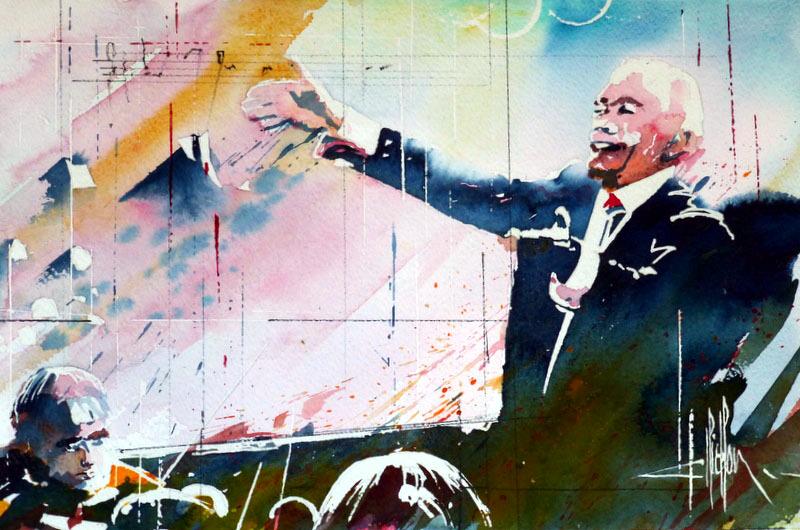 263 Le chef d'orchestre - 2012 - Aquarelle 30.5 x 45.5
