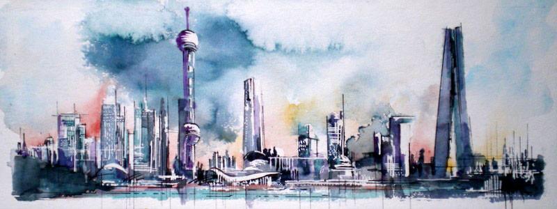 145 Shanghai 01 - Aquarelle 23 x 50