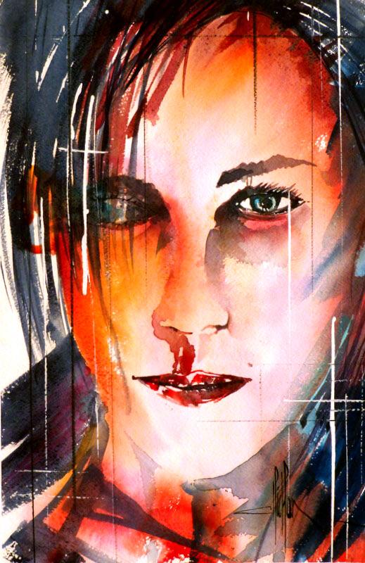 283 Portrait de femme 06 - 2012 - Aquarelle 35.5 x 51