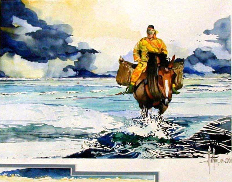 13 - Le pêcheur de crevettes - 2000 - Aquarelle 50 x 70