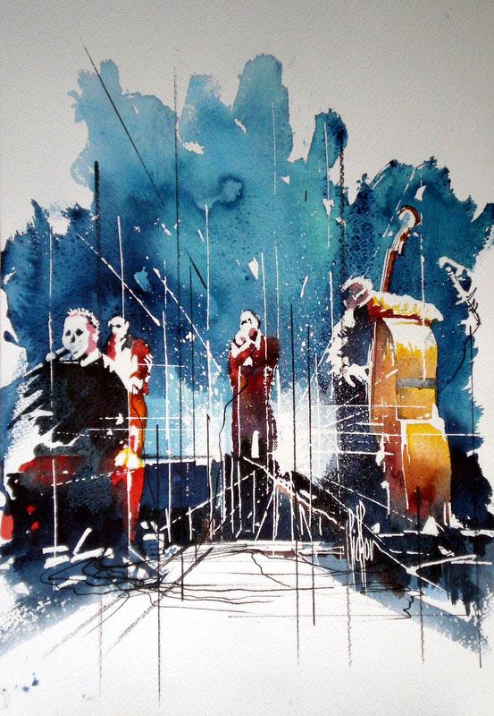 239 Le contrebassiste et sa bande de jazz - 2011 - Aquarelle 29.5 x 40