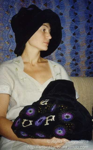dalla seria VELLUTO (hat & bag), velluto,brocade, ricamo,strass,wool; embroidery   SOLD