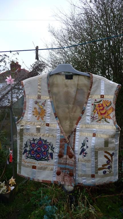 dalla collezione in cotone dedicata alla Maria Prymachenko :cotone,stoffe diverse,perline,pelle,brocade ; ricamo,appliquè