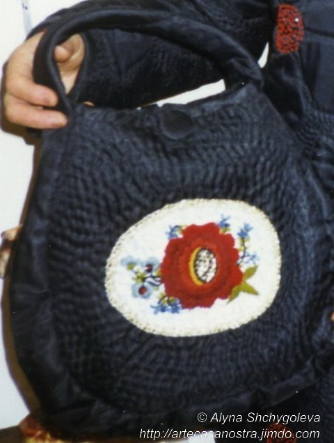 """dalla seria RASO (giacca,cappellino,borsetta).""""Nero e Rosso"""":raso,wool,perline; embroidery,hand-quilted SOLD"""