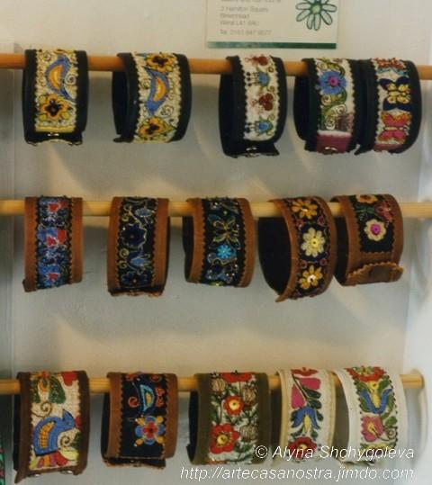"""dalla seria COTONE e PELLE (braccialetti ), brocade,perline,ricamo - SOLD (UK, galleria """"Gajoba""""))"""