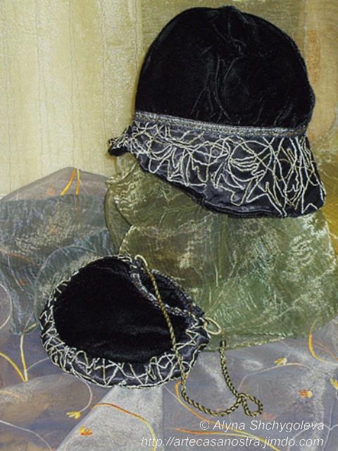 """dalla seria VELLUTO (hat & bag).""""Argento ed Oro"""": velluto,brocade, ricamo,strass,wool; embroidery"""