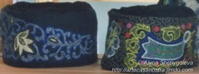dalla seria COTONE (hats): ricamo, beads   SOLD (UK)