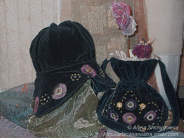 "dalla seria VELLUTO (hat & bag). ""Autunno"": velluto,brocade, ricamo,strass,wool; embroidery"